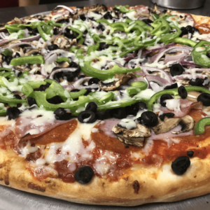 Pepperoni, Mushrooms, Canadian Bacon, onions, green bell peppers & olives