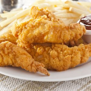 Delicious chicken tenders and fries